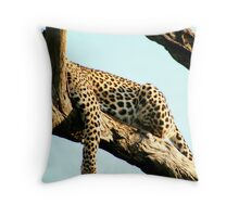 Leopard lazing in a tree Throw Pillow