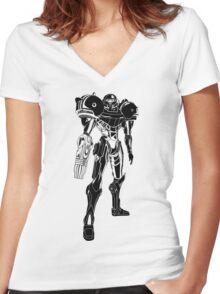 Samus Stencil Women's Fitted V-Neck T-Shirt
