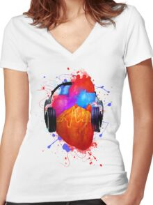 No Music - No Life Women's Fitted V-Neck T-Shirt