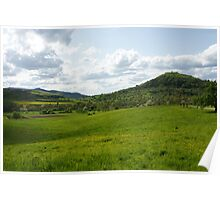 Fields, Meadows, Trees, Hills and Sky Poster