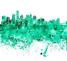 New York skyline in green watercolor on white background by paulrommer