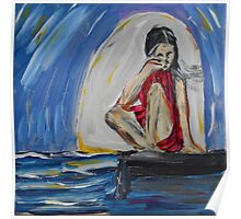 Blue Girl, Abstract Acrylic Painting  Poster