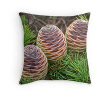 Three Merry Pine Cones Throw Pillow