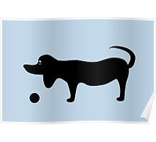 Dog Silhouette on a Blue Background Poster
