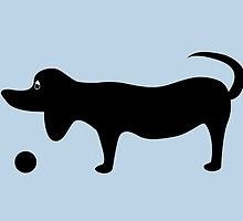 Dog Silhouette on a Blue Background by Jacqueline Turton