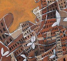 Brown Cityscape, Abstract City Painting  by ShiningEyeArts