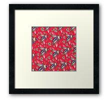 flying moth pattern red Framed Print