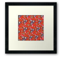 flying moth pattern orange Framed Print