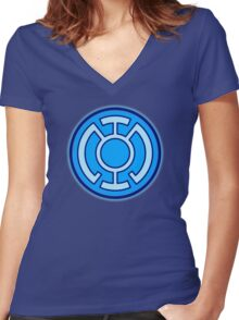 Blue Lantern Corps Women's Fitted V-Neck T-Shirt