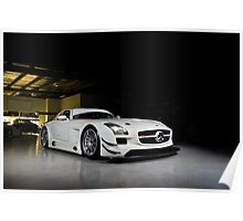 MERCEDES AMG SLS GT3 - White (Front 3/4) Poster