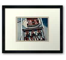 Bar Grill neon sign in NYC - Kodachrome Postcard Framed Print
