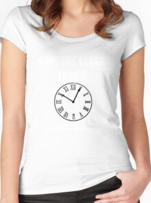Save the Clock Tower (Back to the Future Print) Women's Fitted Scoop T-Shirt