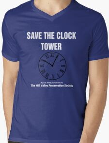 Save the Clock Tower (Back to the Future Print) Mens V-Neck T-Shirt