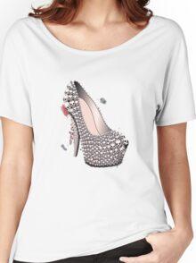 Skull Shoe - Spine Heel - Fashion High Heel Women's Relaxed Fit T-Shirt