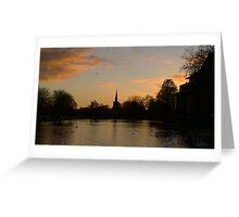 Sunset on Avon, Stratford Greeting Card