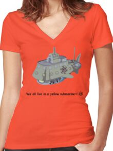 The Heart Pirate's Ship Women's Fitted V-Neck T-Shirt