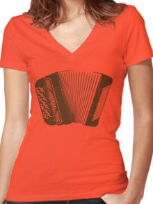 Accordion brown Women's Fitted V-Neck T-Shirt