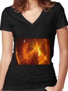 Dark Amber Flame Reflections Women's Fitted V-Neck T-Shirt