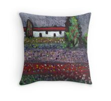 Wild flowers in a field Throw Pillow