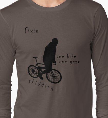 Fixie - one bike one gear - skidding (black) Long Sleeve T-Shirt