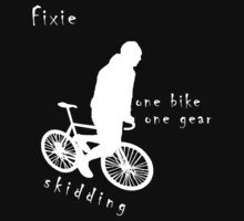 Fixie - one bike one gear - skidding (white) by Stefan Trenker