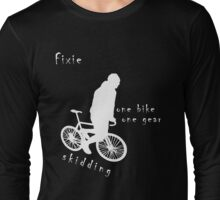 Fixie - one bike one gear - skidding (white) Long Sleeve T-Shirt