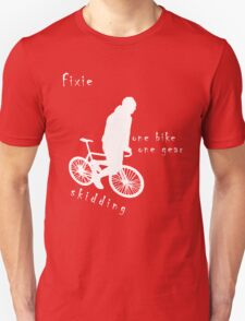 Fixie - one bike one gear - skidding (white) T-Shirt