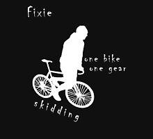 Fixie - one bike one gear - skidding (white) Long Sleeve T-Shirt