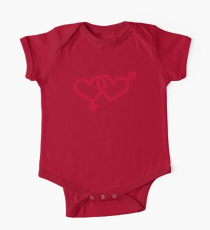 Male female red heart One Piece - Short Sleeve