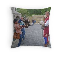 Getting a lesson in falconry Throw Pillow