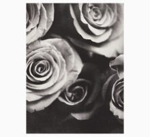 Medium format analog black and white photo of white rose flowers Kids Clothes