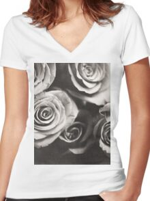 Medium format analog black and white photo of white rose flowers Women's Fitted V-Neck T-Shirt