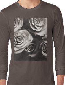 Medium format analog black and white photo of white rose flowers Long Sleeve T-Shirt