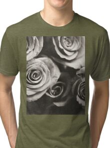 Medium format analog black and white photo of white rose flowers Tri-blend T-Shirt