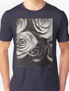 Medium format analog black and white photo of white rose flowers Unisex T-Shirt