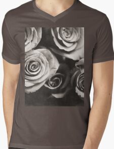Medium format analog black and white photo of white rose flowers Mens V-Neck T-Shirt