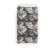 Medium format analog black and white photo of white rose flowers Duvet Cover