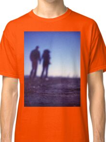 Romantic couple walking holding hands on beach in blue Medium format color negative film photo Classic T-Shirt