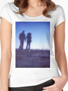 Romantic couple walking holding hands on beach in blue Medium format color negative film photo Women's Fitted Scoop T-Shirt
