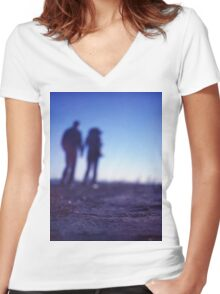 Romantic couple walking holding hands on beach in blue Medium format color negative film photo Women's Fitted V-Neck T-Shirt