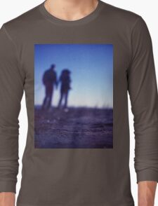 Romantic couple walking holding hands on beach in blue Medium format color negative film photo Long Sleeve T-Shirt