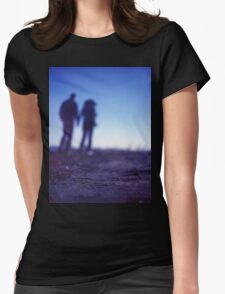 Romantic couple walking holding hands on beach in blue Medium format color negative film photo Womens Fitted T-Shirt