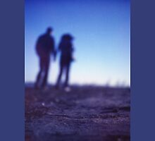 Romantic couple walking holding hands on beach in blue Medium format color negative film photo T-Shirt