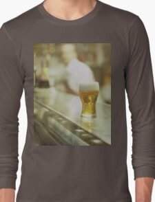 Glass of beer in Spanish tapas bar square Hasselblad medium format  c41 color film analogue photograph Long Sleeve T-Shirt