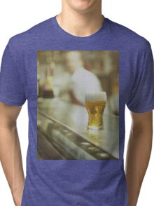 Glass of beer in Spanish tapas bar square Hasselblad medium format  c41 color film analogue photograph Tri-blend T-Shirt