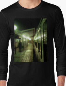 Old train at night in empty station green square Hasselblad medium format film analog photograph Long Sleeve T-Shirt