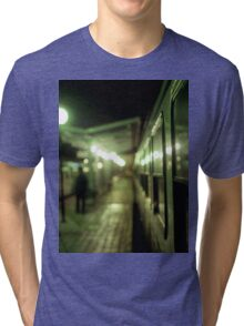 Old train at night in empty station green square Hasselblad medium format film analog photograph Tri-blend T-Shirt