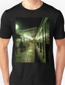Old train at night in empty station green square Hasselblad medium format film analog photograph T-Shirt