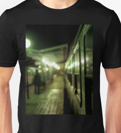 Old train at night in empty station green square Hasselblad medium format film analog photograph Unisex T-Shirt
