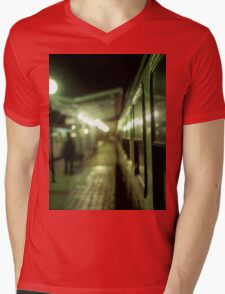 Old train at night in empty station green square Hasselblad medium format film analog photograph Mens V-Neck T-Shirt